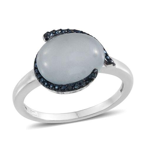Espirito Santo Aquamarine (Ovl 4.50 Ct), Blue Diamond Ring in Platinum Overlay Sterling Silver 4.550 Ct.