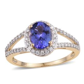 14K Y Gold AA Tanzanite (Ovl 2.00 Ct), Diamond (I2-I3/G-H) Ring 2.500 Ct.