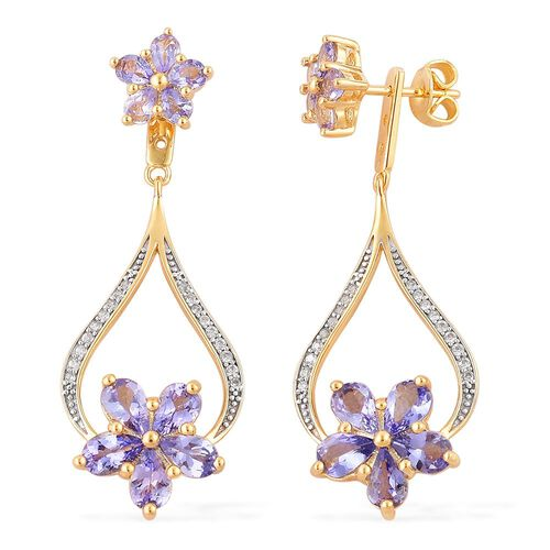 Tanzanite (Pear), White Zircon Floral Earrings (with Push Back) in Yellow Gold Overlay Sterling Silver 5.050 Ct.