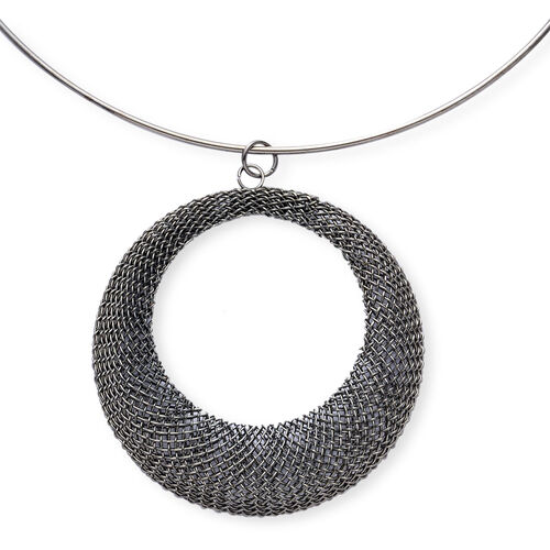3D Circle Necklace (Size 16) and Hook Earrings in Black Tone