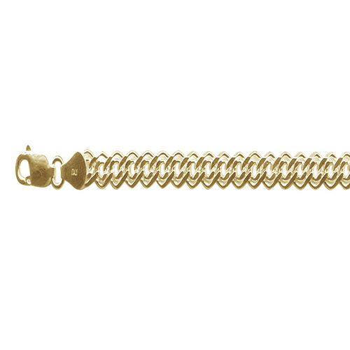 Vicenza Collection 14K Gold Overlay Sterling Silver Double Curb Necklace (Size 18), Silver wt 12.05 Gms.
