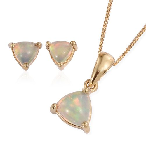Ethiopian Welo Opal (Trl) Pendant With Chain and Stud Earrings (with Push Back) in 14K Gold Overlay Sterling Silver 1.250 Ct.