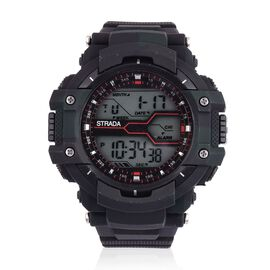 STRADA Electronic Movement LED Display Watch with Stainless Steel Back and Black Camouflage Silicone Strap