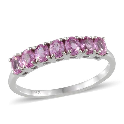 9K W Gold Pink Sapphire (Ovl) 7 Stone Ring 1.250 Ct.
