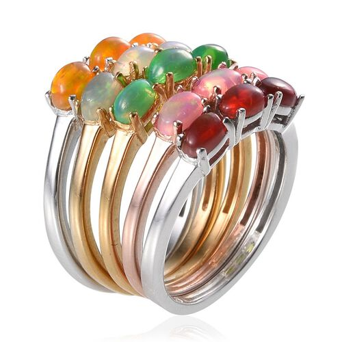 Set of 5 - Ethiopian Welo Opal (Ovl), Green, Orange, Pink and Red Ethiopian Opal Trilogy Ring in 14K Gold, Rose Gold and Platinum Overlay Sterling Silver 2.250 Ct.