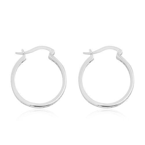 ELANZA AAA Simulated White Diamond Hoop Earrings (with Clasp) in Rhodium Plated Sterling Silver