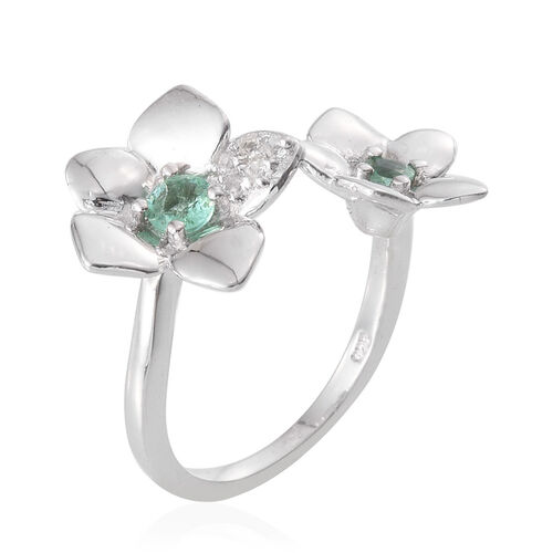 Boyaca Colombian Emerald (Rnd), White Topaz Floral Ring in Platinum Overlay Sterling Silver 0.500 Ct.