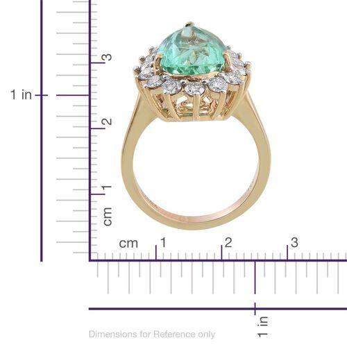 ILIANA 18K Y Gold AAA Boyaca Colombian Emerald (Pear 6.15 Ct), Diamond (SI/G-H) Ring 7.500 Ct.