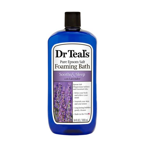 Dr Teals Pure Epsom Salt Foaming Bath Soothe and Sleep with Lavender 1 L