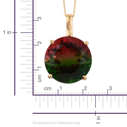 Bi-Color Tourmaline Quartz (Rnd) Pendant With Chain in 14K Gold Overlay Sterling Silver 21.000 Ct.