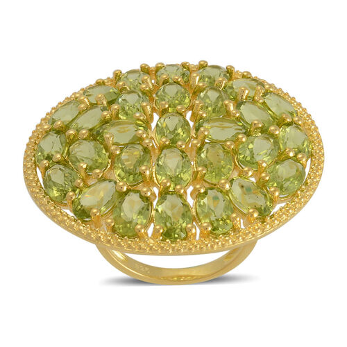 Hebei Peridot (Ovl) Cluster Ring in Yellow Gold Overlay Sterling Silver 14.250 Ct.