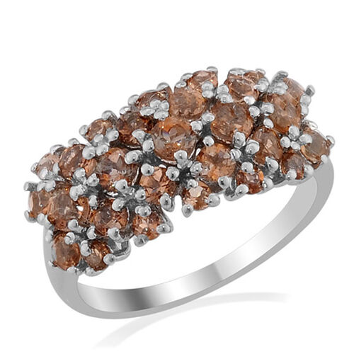 Jenipapo Andalusite (Rnd) Ring in Platinum Overlay Sterling Silver  (Size O) 1.580 Ct.
