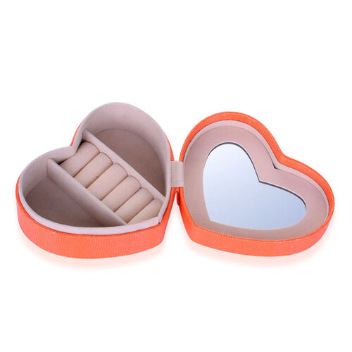 Orange Heart Shape Jewellery Box with Mirror Inside (Size 12.5x10x5 Cm)