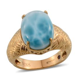Stefy Larimar (Ovl 10.25 Ct), Pink Sapphire Ring in 14K Gold Overlay Sterling Silver 10.520 Ct.