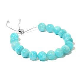 AAA Russian Amazonite Adjustable Bracelet (Size 7 to 10) in Rhodium Plated Sterling Silver 135.00 Ct.
