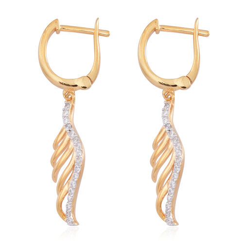 AAA Simulated White Diamond (Rnd) Earrings (with Clasp) in 14K Gold Overlay Sterling Silver