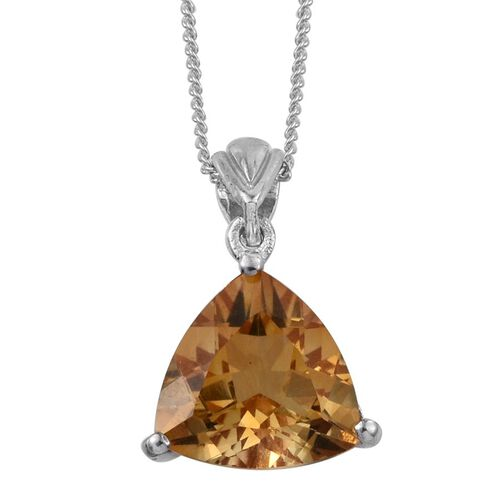 Citrine (Trl) Solitaire Pendant with Chain in Platinum Overlay Sterling Silver 3.000 Ct.