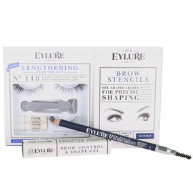 Day Eye Kit, Lengthening Lashes 118, Brow Stencils, Brow Gel, Brow Pencil Mid Brown
