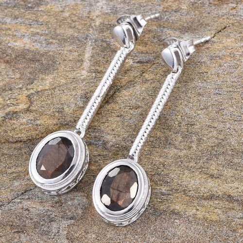 Natural Zawadi Golden Sheen Sapphire (Ovl) Earrings (with Push Back) in Platinum Overlay Sterling Silver 5.000 Ct.