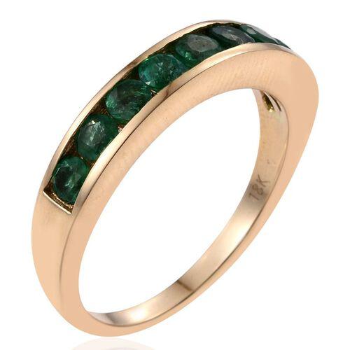 ILIANA 18K Y Gold AAA Boyaca Colombian Emerald (Rnd) Half Eternity Band Ring 1.000 Ct.