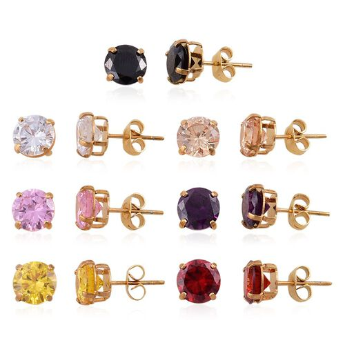 Set of 7-AAA Simulated Pink Sapphire, Simulated Ruby, Simulated Citrine, Simulated Amethyst, Simulated Black Spinel, Simulated Champagne & White Diamond Earrings in ION Gold Plated