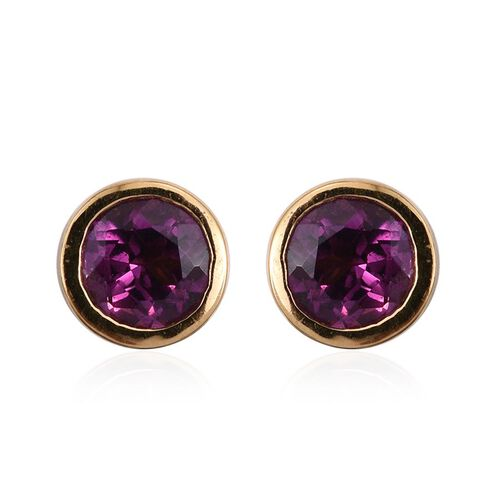 Rare Mozambique Grape Colour Garnet (Rnd) Stud Earrings (with Push Back) in 14K Gold Overlay Sterling Silver 1.000 Ct.