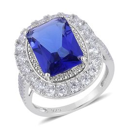 AAA Simulated Tanzanite and Simulated White Diamond Ring in Rhodium Plated Sterling Silver
