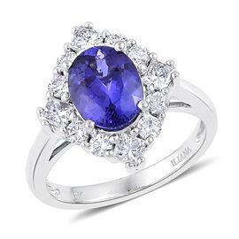 ILIANA 18K W Gold AAA Tanzanite (Ovl 2.25 Ct), Diamond Engagement Ring 3.250 Ct.