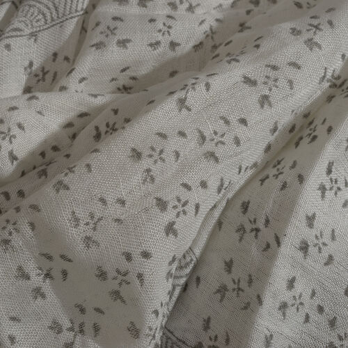Green Colour Handblock Floral Printed White Colour Scarf (Size 180x70 Cm)