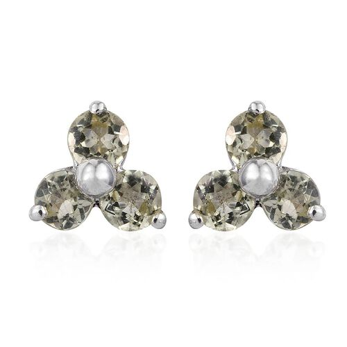 Natural Canary Apatite (Rnd) Stud Earrings in Platinum Overlay Sterling Silver 1.000 Ct.