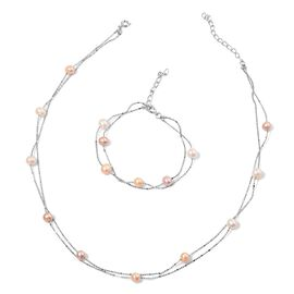 Fresh Water Multi Colour Pearl Necklace (Size 36) and Bracelet (Size 7.50) in Silver Tone 52.850 Ct.