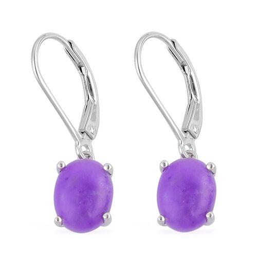 Purple Jade (Ovl) Lever Back Earrings in Platinum Overlay Sterling Silver 4.000 Ct.