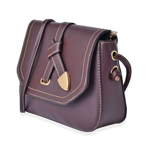 Chocolate Colour Crossbody Bag with Shoulder Strap (Size 21.5x17x6.5 Cm)