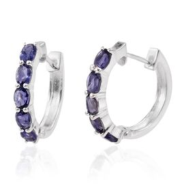 Iolite (Ovl) Hoop Earrings (with Clasp) in Sterling Silver 1.500 Ct.