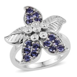 J Francis Crystal from Swarovski - Tanzanite Colour Crystal (Rnd) Leaf Ring in ION Plated Platinum Bond