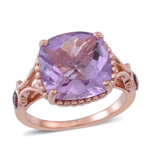 Rose De France Amethyst (Cush 6.25 Ct), Rhodolite Garnet Ring in Rose Gold Overlay Sterling Silver 6.500 Ct.