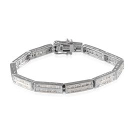 Diamond (Bgt) Bracelet (Size 8) in Platinum Overlay Sterling Silver 2.000 Ct.