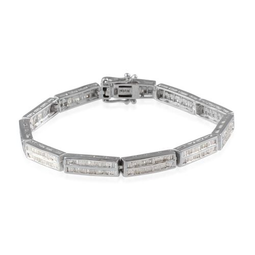 Diamond (Bgt) Bracelet (Size 8) in Platinum Overlay Sterling Silver 2.000 Ct.