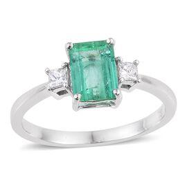 ILIANA 18K W Gold Boyaca Colombian Emerald (Oct 1.35 Ct), Diamond Ring 1.500 Ct.
