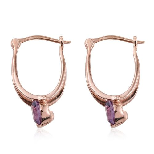 Rose De France Amethyst (Rnd) Earrings (with Clasp) in Rose Gold Overlay Sterling Silver 1.500 Ct.