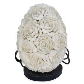 Royal Bali Collection Handmade Egg Shaped Sea Shell Flower Table Lamp (Upto 25 Watt)