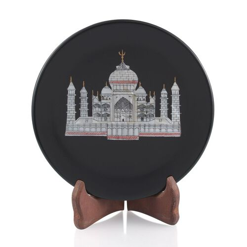 Handcarvd Tajmahal on Black Soap Stone with a Stand- Round