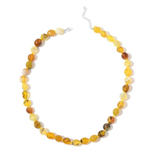 Very Rare Tanzanian Yellow Opal Necklace (Size 18 with 2 inch Extender) in Rhodium Plated Sterling Silver 115.00 Ct.