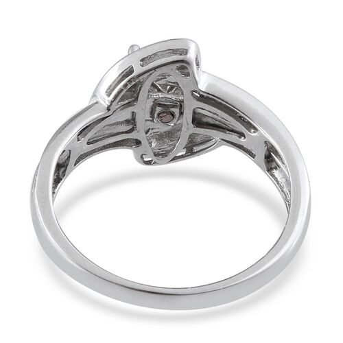 Blue Diamond (Rnd), Natural Champagne Diamond and Yellow Diamond Interchangeable Ring in Platinum Overlay Sterling Silver
