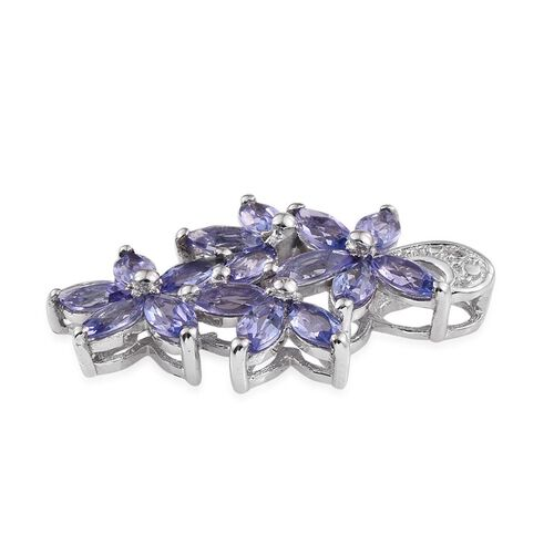 Tanzanite (Mrq) Floral Pendant in Platinum Overlay Sterling Silver 2.500 Ct.