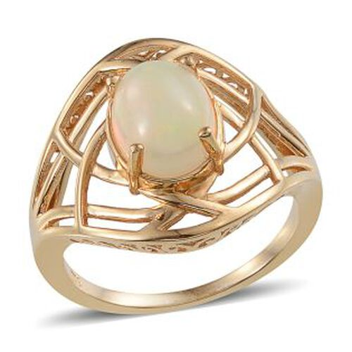 Ethiopian Welo Opal (Ovl) Solitaire Ring in 14K Gold Overlay Sterling Silver 1.750 Ct.