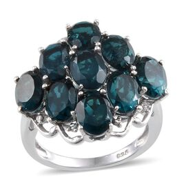 Indicolite Quartz (Ovl), Diamond Ring in Platinum Overlay Sterling Silver 8.760 Ct.