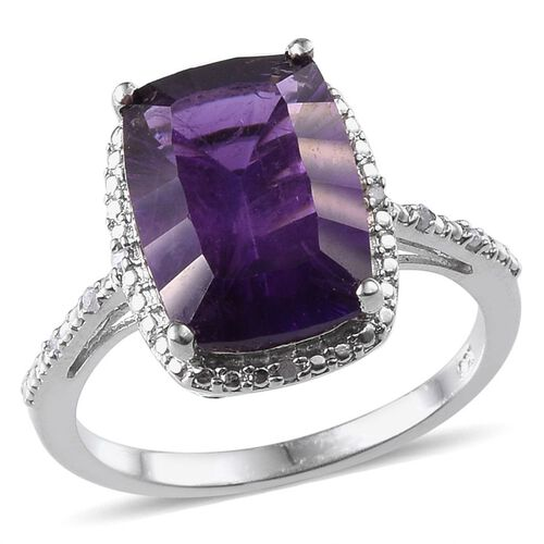 Concave Cut Amethyst (Cush 6.00 Ct), Diamond Ring in Platinum Overlay Sterling Silver 6.050 Ct.