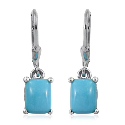 Arizona Sleeping Beauty Turquoise (Cush) Earrings in Platinum Overlay Sterling Silver 2.750 Ct.
