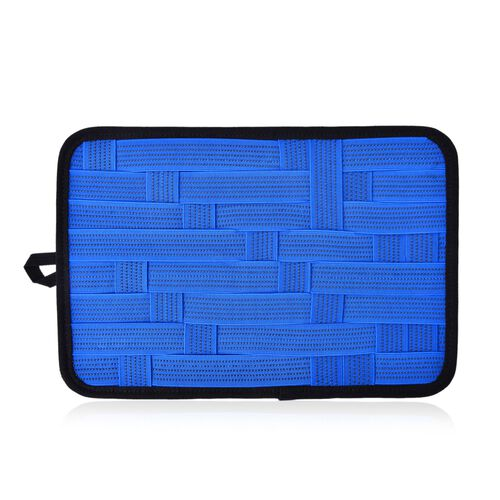 Blue Colour Grid Pattern iPod, iPhone, Blackberry and Other Digital Devices Organizers (Size 31x21 Cm)